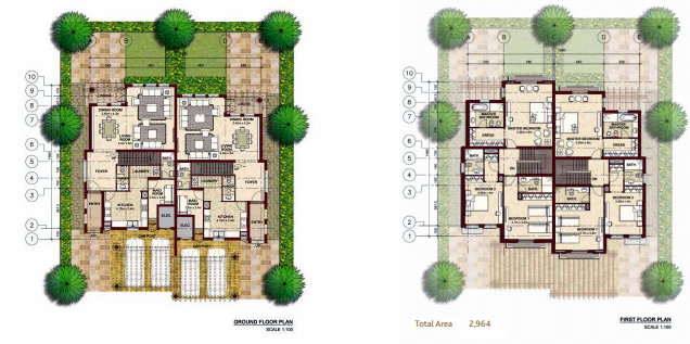 Planning of the apartment Villas, 2964 in Bloom Gardens, Abu Dhabi