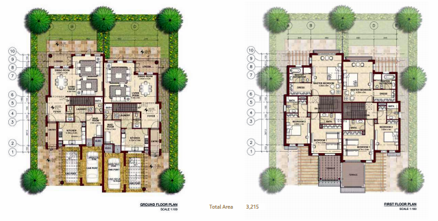 Planning of the apartment Villas, 3215 in Bloom Gardens, Abu Dhabi