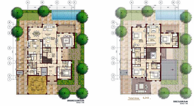 Planning of the apartment Villas, 6243 in Bloom Gardens, Abu Dhabi
