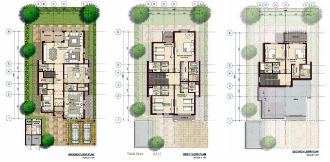 Planning of the apartment Villas, 6125 in Bloom Gardens, Abu Dhabi