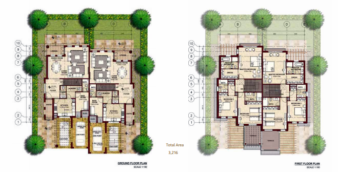 Planning of the apartment Villas, 3216 in Bloom Gardens, Abu Dhabi