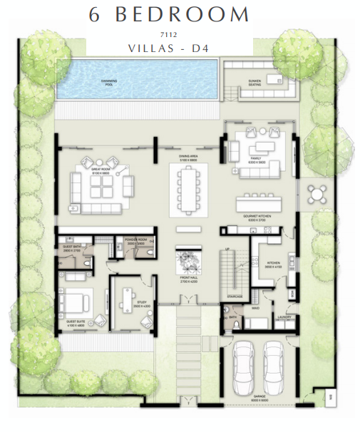 Planning of the apartment 6BR, 7112 in Golf Place Villas, Dubai