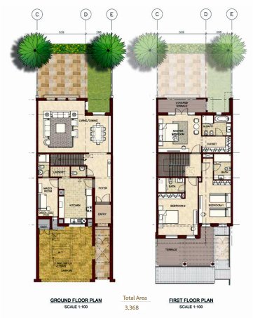 Planning of the apartment Villas, 3368 in Bloom Gardens, Abu Dhabi