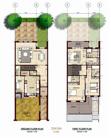 Planning of the apartment Villas, 3442 in Bloom Gardens, Abu Dhabi