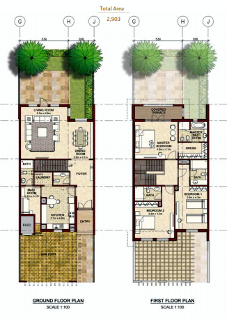 Planning of the apartment Villas, 2903 in Bloom Gardens, Abu Dhabi