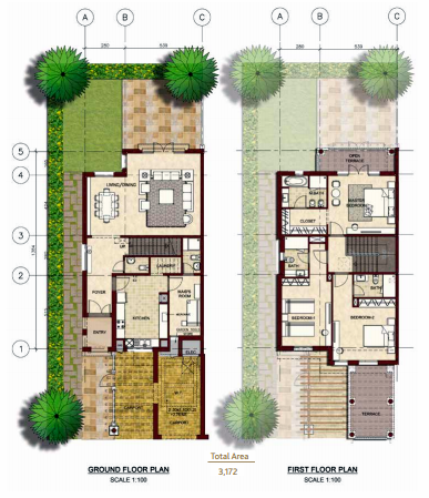 Planning of the apartment Villas, 3172 in Bloom Gardens, Abu Dhabi