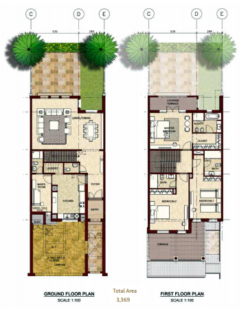 Planning of the apartment Villas, 3369 in Bloom Gardens, Abu Dhabi