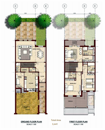 Planning of the apartment Villas, 3441 in Bloom Gardens, Abu Dhabi