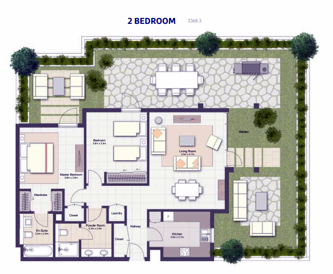 Planning of the apartment 2BR, 2368.3 in Al Zahia, Sharjah