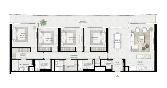 Planning of the apartment 4BR, 2368 in Beach Vista Tower, Dubai