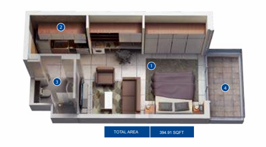 Planning of the apartment Studios, 394.91 in Azizi Pearl Apartments, Dubai