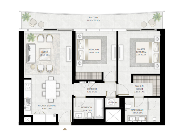 Planning of the apartment 2BR, 1178 in Beach Vista Tower, Dubai
