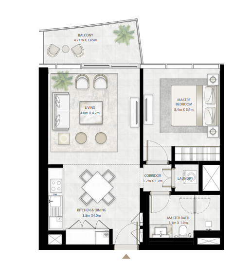 Planning of the apartment 1BR, 745.19 in Beach Vista Tower, Dubai