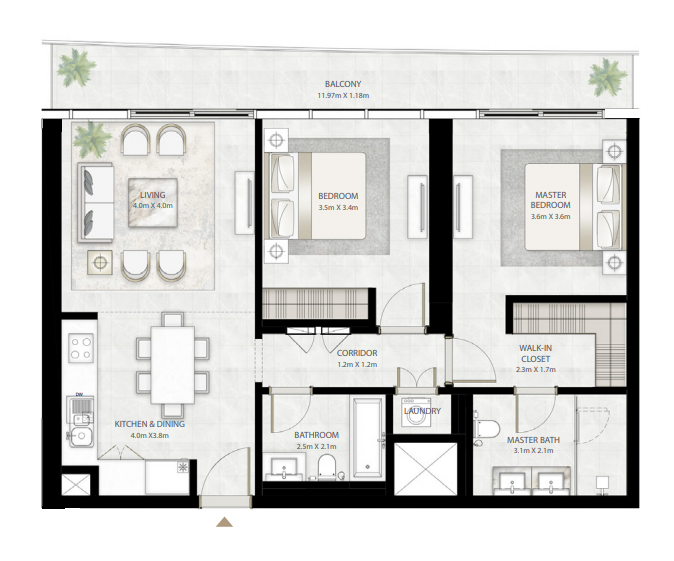 Planning of the apartment 2BR, 1187 in Beach Vista Tower, Dubai