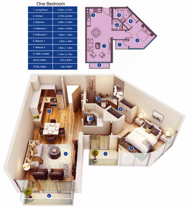 Planning of the apartment 1BR, 734.7 in Park Avenue by Azizi, Dubai