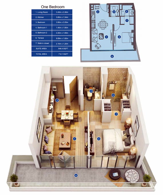 Planning of the apartment 1BR, 712.1 in Park Avenue by Azizi, Dubai