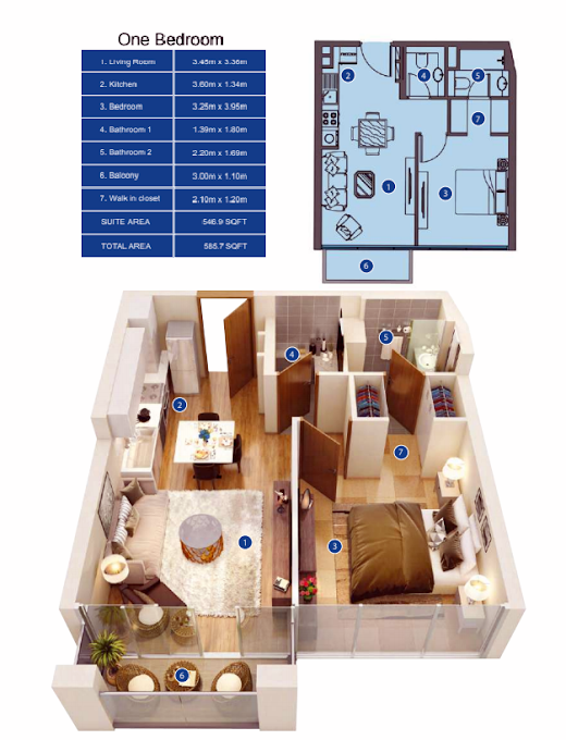 Planning of the apartment 1BR, 585.7 in Park Avenue by Azizi, Dubai