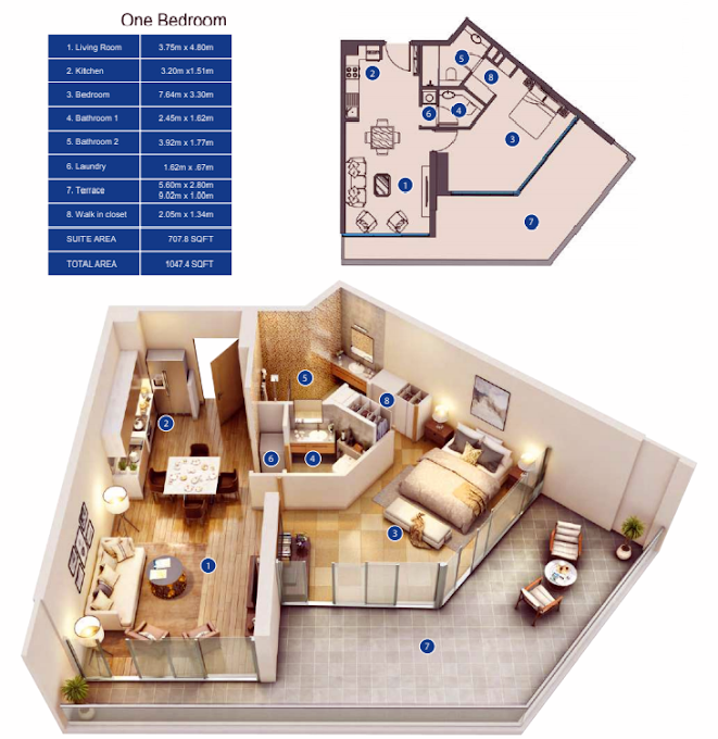 Planning of the apartment 1BR, 1047.4 in Park Avenue by Azizi, Dubai