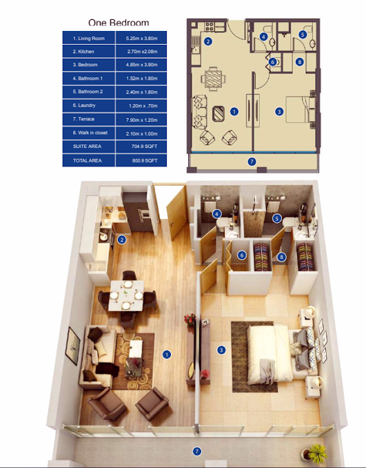 Planning of the apartment 1BR, 800.9 in Park Avenue by Azizi, Dubai