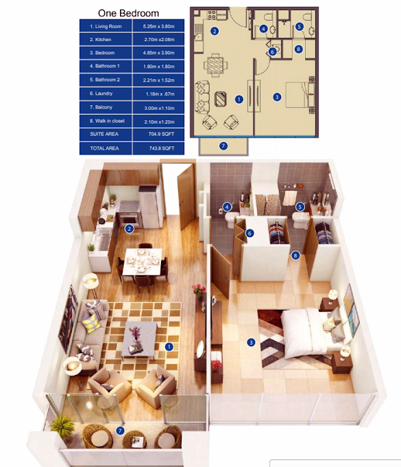 Planning of the apartment 1BR, 743.8 in Park Avenue by Azizi, Dubai