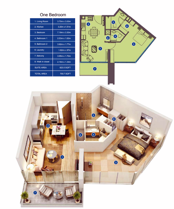 Planning of the apartment 1BR, 700.7 in Park Avenue by Azizi, Dubai