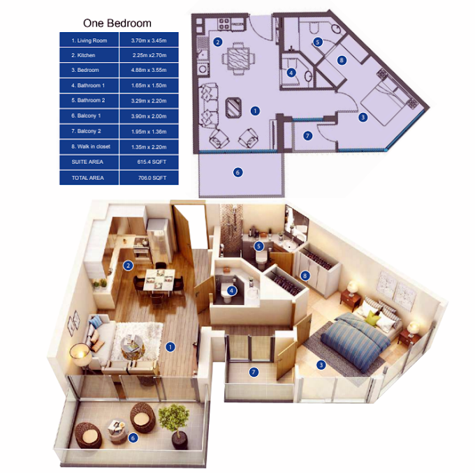 Planning of the apartment 1BR, 706 in Park Avenue by Azizi, Dubai