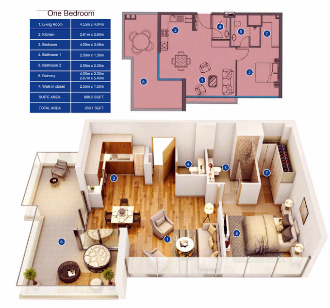 Planning of the apartment 1BR, 969.1 in Park Avenue by Azizi, Dubai