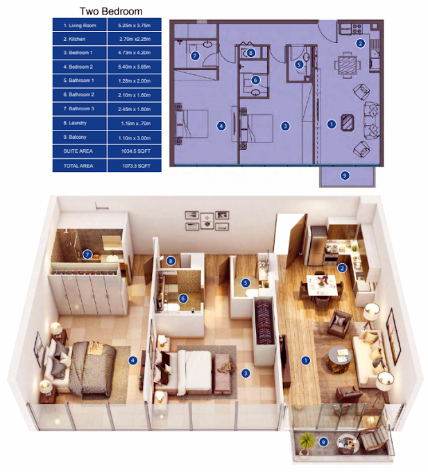 Planning of the apartment 2BR, 1073.3 in Park Avenue by Azizi, Dubai