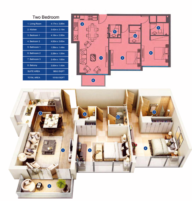 Planning of the apartment 2BR, 1018.6 in Park Avenue by Azizi, Dubai