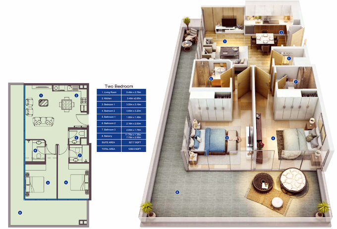 Planning of the apartment 2BR, 1236.5 in Park Avenue by Azizi, Dubai