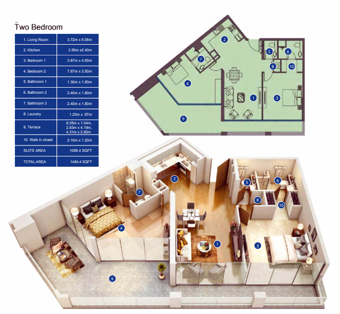Planning of the apartment 2BR, 1654.4 in Park Avenue by Azizi, Dubai
