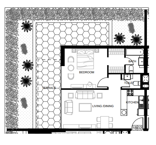 Planning of the apartment 1BR, 1265 in Azizi Shaista Apartments, Dubai