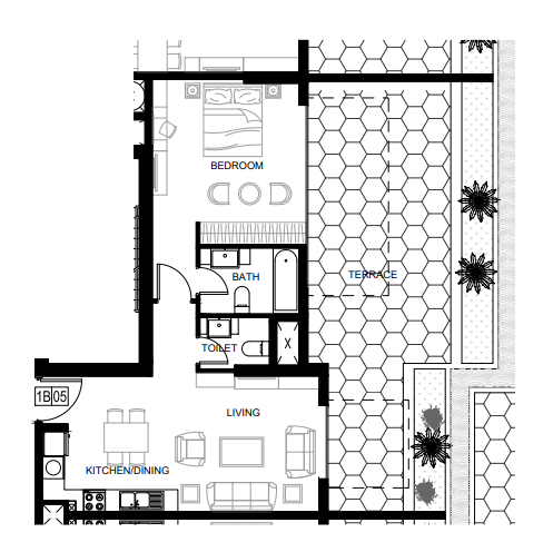 Planning of the apartment 1BR, 562 in Azizi Shaista Apartments, Dubai