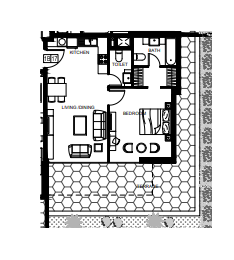Planning of the apartment 1BR, 796 in Azizi Shaista Apartments, Dubai