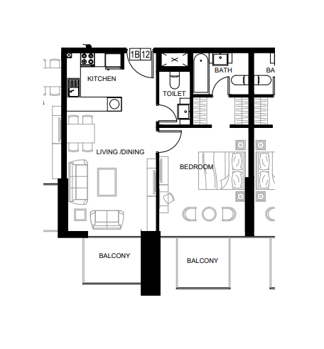 Planning of the apartment 1BR, 781.36 in Azizi Shaista Apartments, Dubai