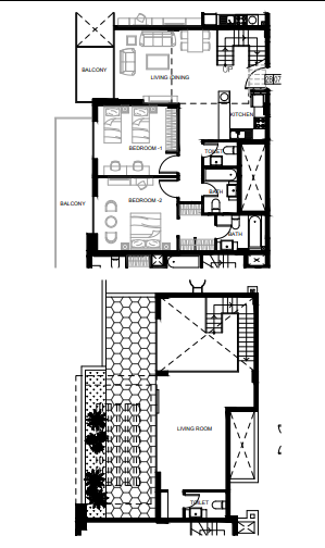 Planning of the apartment 2BR, 1584 in Azizi Shaista Apartments, Dubai