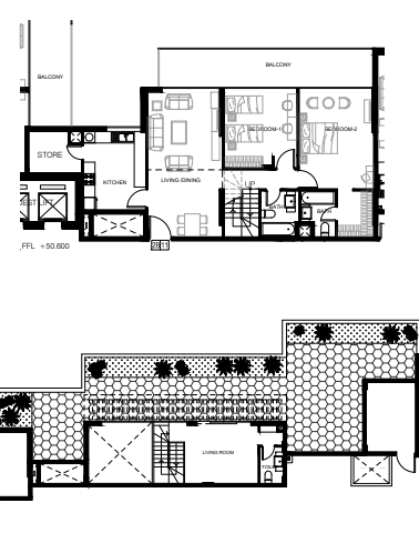 Planning of the apartment 2BR, 1345 in Azizi Shaista Apartments, Dubai