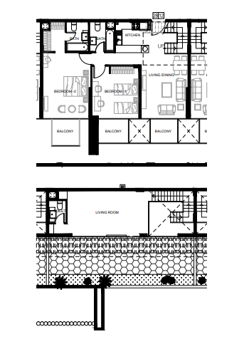 Planning of the apartment 2BR, 1584.89 in Azizi Shaista Apartments, Dubai