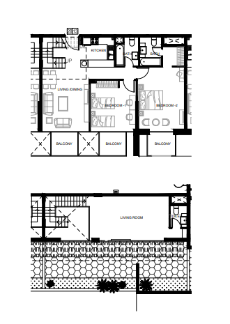 Planning of the apartment 2BR, 1222.14 in Azizi Shaista Apartments, Dubai