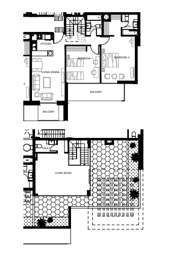 Planning of the apartment 2BR, 1250 in Azizi Shaista Apartments, Dubai