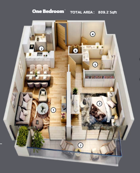 Planning of the apartment 1BR, 809.2 in Azizi Mirage, Dubai