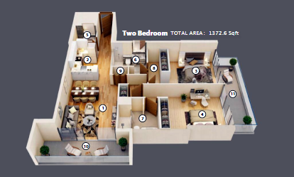 Planning of the apartment 2BR, 1372.6 in Azizi Mirage, Dubai