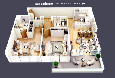 Planning of the apartment 2BR, 1302.4 in Azizi Mirage, Dubai