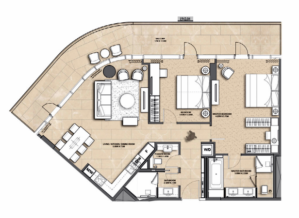 Planning of the apartment 2BR, 1542.04 in Address Harbour Point, Dubai