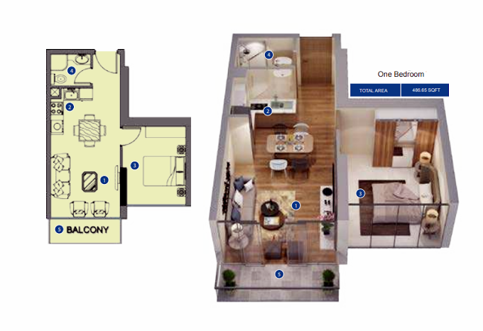 Planning of the apartment 1BR, 486.65 in Azizi Riviera, Dubai