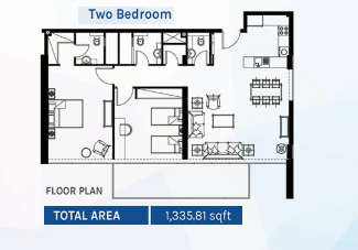 Planning of the apartment 2BR, 1335.81 in Azizi Aura Residence, Dubai