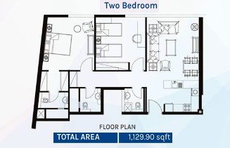Planning of the apartment 2BR, 1129.9 in Azizi Aura Residence, Dubai