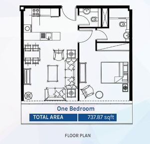 Planning of the apartment 1BR, 737.87 in Azizi Aura Residence, Dubai