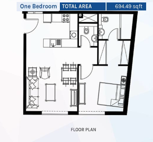 Planning of the apartment 1BR, 694.49 in Azizi Aura Residence, Dubai