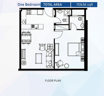 Planning of the apartment 1BR, 709.56 in Azizi Aura Residence, Dubai